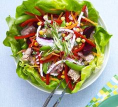 Red, yellow, purple, green - not quite a whole rainbow, but this vibrant salad of tinned fish and veggies comes close