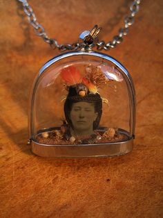 feathers on tintype diorama necklace by Lisa Wood