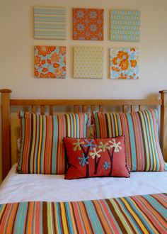 Fabric coverered canvas prints to coordinate with my Pine Cone Hill Duvet :)  Inspired by Pinterest!