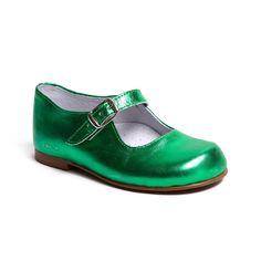 Girl Mary Jane metallic green lacoquetakids.com