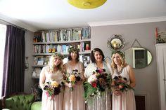bride and bridesmaids at quirky alternative chic wedding, bishops stortford Brides And Bridesmaids, Bridesmaid Dresses, Wedding Dresses, Creative Wedding Photography, Alternative Wedding, Gold Dress, Chic Wedding, My Photos, Fashion