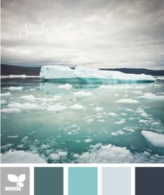 The grey, turquoise and light grey-blue