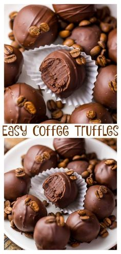 Rich creamy and caffeinated these Espresso Chocolate Truffles are a coffee lovers dream come true! Rich creamy and caffeinated these Espresso Chocolate Truffles are a coffee lovers dream come true! Café Chocolate, Chocolate Desserts, Chocolate Espresso, Easy Chocolate Truffles, Chocolate Candy Cake, Christmas Chocolate, Just Desserts, Delicious Desserts, Dessert Recipes