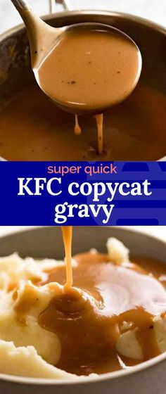 This is a recipe for how to make a gravy using just water in 4 minutes flat. Gravy Recipe (Tastes like KFC) Copykat Recipes, Sauce Recipes, Beef Recipes, Chicken Recipes, Cooking Recipes, Top Recipes, Restaurant Recipes, Dinner Recipes, Gourmet