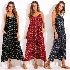 c8b881176bb Zanzea Women Sleeveless Floral Printed V Neck Tunic Baggy Loose Party Maxi  Long Dress Kaftan Plus Size