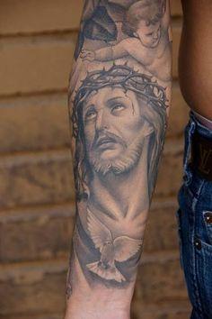 Full sleeve jesus tattoo