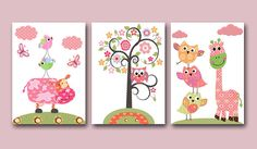 "Kids wall art nursery art print baby nursery decor Baby Girl Nrsery baby girl room set of 3 11""x14"" bird giraffe cow rose owl decoration"