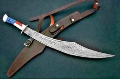 Handmade Sword For Texan Peoples Damascus Steel Sword, 300 Movie, Viking Sword, Weapons Guns, Texans, Hunting Knives, Leather, Handmade, Kitchen Tools