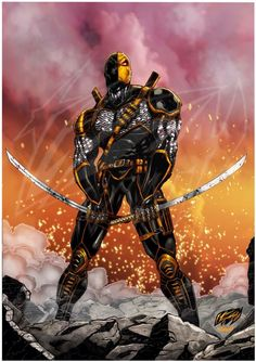 """The Deathstroke (digitally colored) """"Nothing can save you from his wrath!"""" This full color interpretation of Deathstroke drawn by artist Franck Uzan (FUZart) and digitally colored by Splash Colors. This DC Comics reborn character, once a top mercenary and assassin, now a reluctant anti-hero is """"standing on ruins"""" in full color glory after leaving behind """"a battle siege to ashes"""". The Deathstroke was created in 1980 and is currently rebooted in his own imprint's flagship title.The image is…"""