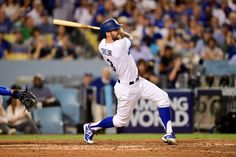 Best images of 2017 MLB playoffs - SMASHED:   Chris Taylor of the Dodgers hits a solo home run to right field against the Cubs in Game 1 of the NLCS on Oct. 14 in Los Angeles, California. Dodgers won 5-2.