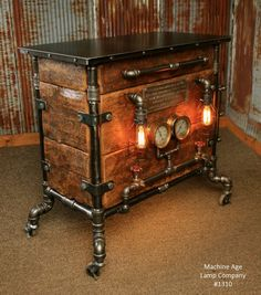 3 Steampunk furniture. The exposed pipe frame with the wood drawers. The glossy finish to the top and the wood.