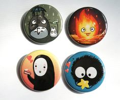 Pack of four buttons featuring Ghibli studios characters all come with a pin backing the illustrations on the buttons are done by me, the buttons feature Totoro, Calcifer, Noface, and a Sootball; all characters from Ghibli films. Totoro Ghibli, Ghibli Movies, Anime Merchandise, My Neighbor Totoro, Hayao Miyazaki, Pin And Patches, Stone Art, Painted Rocks, Badge