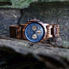 """Mountainlake"" is a striking chronographic wood watch from the Cross Country collection with a case made of Zebrawood and an azure dial. Wood Watch, Fashion Accessories, Watches, Tips, Model, Timber Wood, Wooden Clock, Wristwatches"