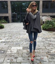 Fall layers with cape coat.                                                                                                                                                                                 More