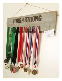 Running Runners Race Barn Board Medal Display Sign Finish Strong. $25.00, via Etsy.