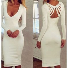 Sexy Plunging Neck Solid Color Long Sleeve Women's Dress http://www.trendsgal.com/p/wholesale-product-1181238.html?lkid=1859