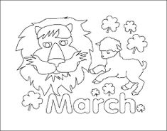 All the symbols of the month of March coloring page - lion, lamb, shamrocks and bubble letters spelling out MARCH. #printable #months #march #coloring