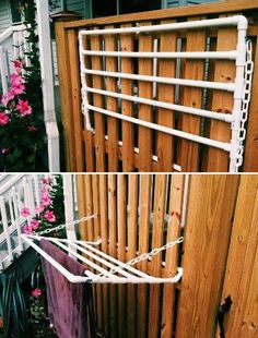 This towel rack is great for outdoor shower. - Top 20 Low-Cost DIY Gardening Projects Made With PVC Pipes