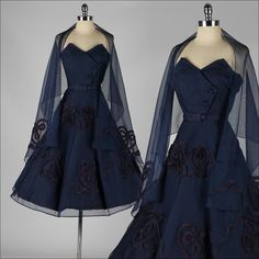 1950 blue evening dress with shawl