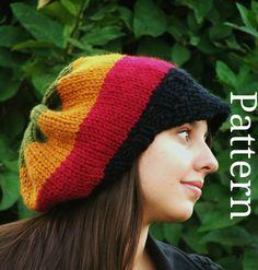 Knitting Pattern - Knit Hat Knitting pattern PDF - Rasta Hat Pattern - Winter Accessories Reggae Hat with or without brim