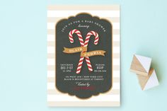 Candy Cane Banner Baby Shower Invitations by Jill Means at minted.com