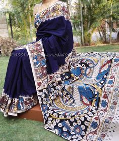 Elegant Cotton Saree with Kalamkari Block Printing