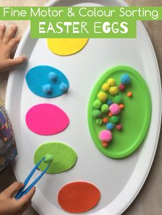 Fine motor/sorting  eggs with Felt Easter eggs and pompoms