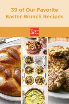 Entertain family and friends with these dreamy dishes. From French toast and egg casseroles to fruit salad and homemade doughnuts, find Easter brunch recipes your guests will love! Brunch Dishes, Brunch Recipes, Breakfast Recipes, Easter Snacks, Easter Brunch, Oven French Toast, Rhubarb Compote, Egg Casserole, Ham And Cheese