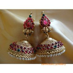 indian gold jewellery, diamond jewellery, temple jewellery, antique jewellery, ruby and emerald jewellery collection Emerald Jewelry, Jewelery, Silver Jewelry, India Jewelry, Temple Jewellery, Gold Earrings Designs, Indian Earrings, Oxidised Jewellery, Jewelry Patterns