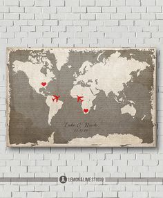 Unique Wedding Guest Book  Vintage World Map by lemonANDlimeStudio, $40.00