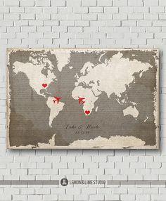 Unique Wedding Guest Book  Vintage World Map by lemonANDlimeStudio, $40.00