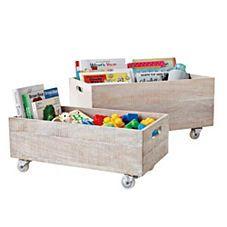 Rolling Storage Crates – Whitewashed