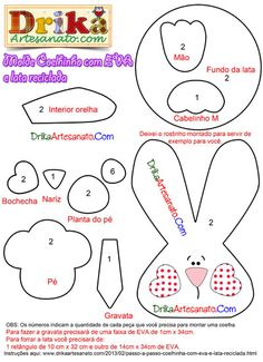 Moldes da Coelhinha e coelhinho feitos com EVA e lata de Nescau - Drika Artesanato - O seu Blog de Artesanato.