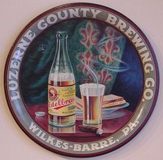 Vintage - Luzerne County Brewing Co of Wilkes-Barre -Pennsylvania - USA - ''Edelbrau Beer'' - Tray - 1915