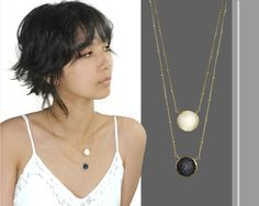 Sun and Moon Layered Druzy Necklace 14k by MimsyBorogroveDesign, $169.00
