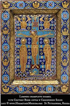 Limoges champleve enamel: 12th Century Book-cover w Crucifixion Scene. 2011 © The State Hermitage Museum, St Petersburg, Russia. [Do not remove caption. The law requires you to credit the copyright holders.  List/Link directly to the museum's website.]