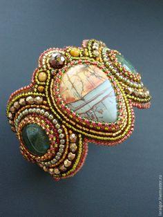 """Купить Браслет""""Арабески"""" (вышивка бисером) - разноцветный, браслет с камнями, браслет с яшмой, яшма Пикассо"""