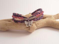 bracelet micro macramé et liberty : Bracelet par les-creations-du-sud