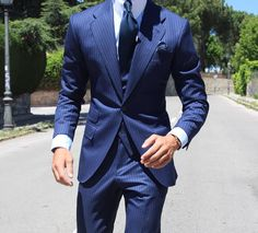 Three-piece pinstripe suit by Absolute Bespoke