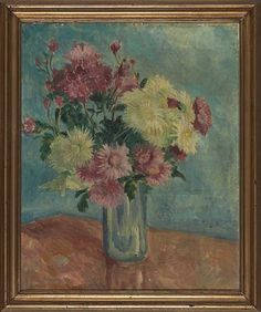 POLA GAUGUIN PARIS 1883 - KØBENHAVN 1961  Blomsterstilleben Olje på lerret, 46x38 cm Usignert Paris, Painting, Montmartre Paris, Painting Art, Paris France, Paintings, Painted Canvas, Drawings