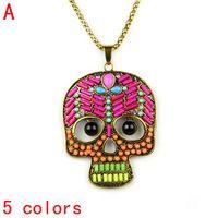 skull head handmade beaded pendant necklace 5 colors,NL-2102