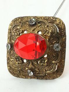 Antique Hat Pin/ Red Hat Pin/ Czech Glass Hat Pin/ Gablonz Hat Pin/ Hatpin/ Art…
