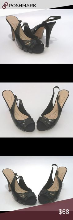 Kate Spade Genna Stiletto Slingback made in italy Kate Spade Genna Black Patent leather and Satin  Slingback adjustable straps  Stiletto heel 4.5 inches high  Size 9.5  Made in Italy  Some wear on bottom  Great condition kate spade Shoes Heels