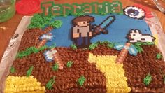 Terraria Cake. With perler beads decorations.