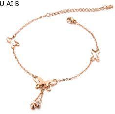 Women Elegant Butterfly titanium anklet leg bracelets for women foot accessories women anklet foot jewelry leg bracelet www.bernysjewels.com #bernysjewels #jewels #jewelry #nice #bags