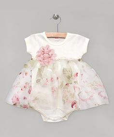 Another great find on #zulily! Ivory Painterly Floral Skirted Bodysuit #zulilyfinds