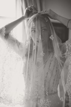 Stunning lace veil - Emily and Ewan's Homespun, Vintage Inspired English Garden Party Wedding by Melanie Cowell