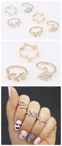 Rhinestone Embellished Leaves Fashion Three Pieces Alloy Ring Set - Silver