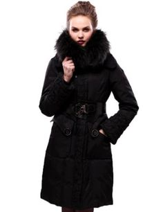 Maxchic Women's Luxe Collection Glamour Embossed Down Coat With Removable Raccoon Fur Collar D06986S12C,Black,Medium Maxchic. $588.00