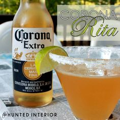 Corona-rita.   8 ounces tequila,  4 ounces fresh lime juice,  4 ounces agave nectar,  1 Corona,  Ice    In a pitcher, or a mason jar (that's what I used) mix the tequila, lime juice, agave & ice until combined.  Add in your Corona & serve. This will probably serve 4-6, depending on who is coming to the party.     If you want to make it ahead of time, simply prepare your margarita & store in the fridge.  Right before you serve, add the Corona.
